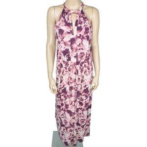 BCBG Maxi Pink White Purple Floral Stretch Dress